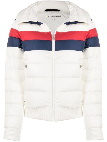 Pikowana z rękawami biały puchaty długa kurtka Perfect Moment