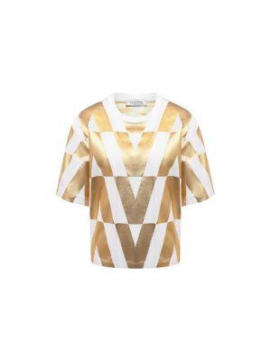 Хлопковая футболка - золотая Valentino