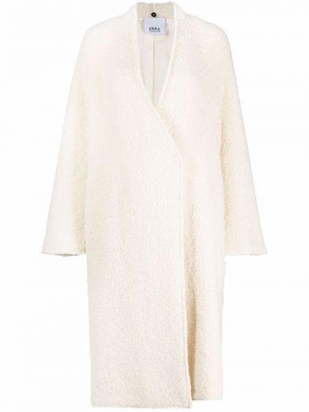 Белое длинное пальто из вискозы с потайной застежкой Erika Cavallini