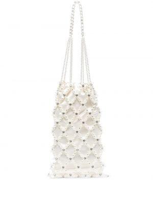 Biała torebka srebrna perły Simone Rocha