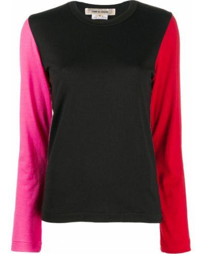 С рукавами шерстяной черный джемпер с круглым вырезом Comme Des Garçons