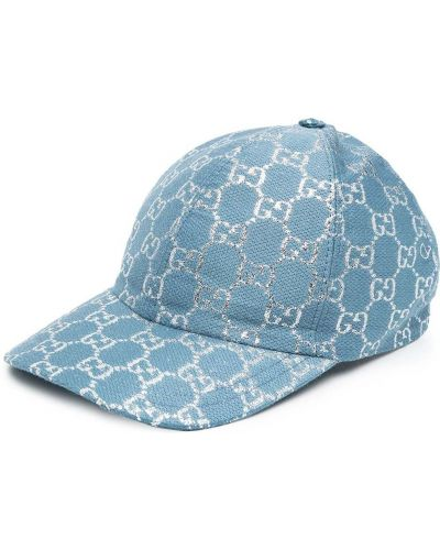 Синяя бейсболка металлическая Gucci