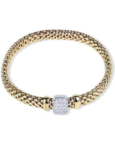 Золотистый золотой браслет золотой с бриллиантом Fope