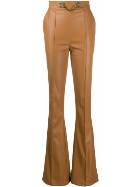 Брючные коричневые расклешенные брюки с высокой посадкой Elisabetta Franchi