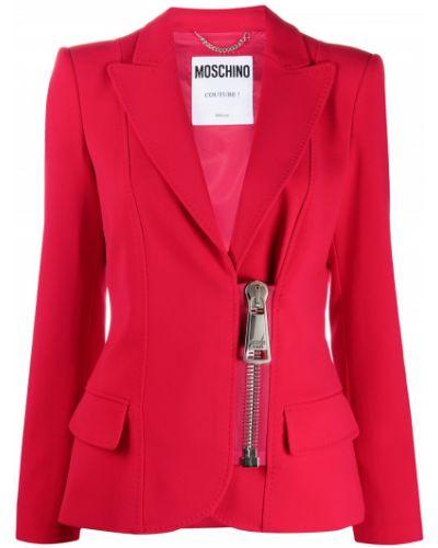 Красный удлиненный пиджак на молнии с лацканами Moschino