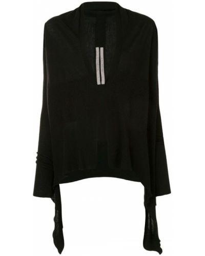 Prążkowany czarny sweter asymetryczny Rick Owens