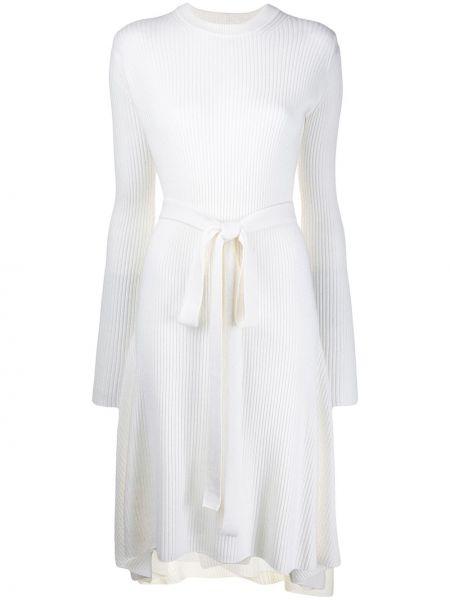 Платье с поясом в рубчик с вырезом Helmut Lang