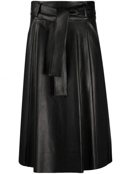 Черная с завышенной талией юбка с поясом из вискозы Drome