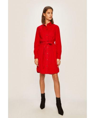 Платье мини с декольте - красное Lee