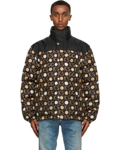 Czarna długa kurtka z nylonu z długimi rękawami Gucci