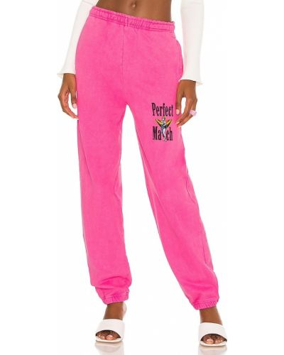 Różowe spodnie dresowe bawełniane z printem Boys Lie