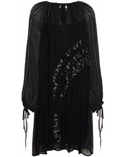 Черное платье из вискозы с манжетами Mcq Alexander Mcqueen