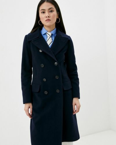 Синее пальто двубортное Polo Ralph Lauren