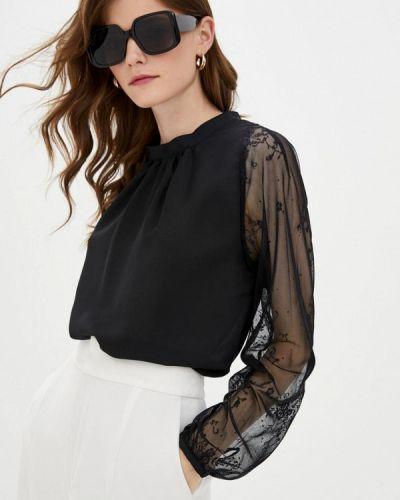 С рукавами черная блузка с длинным рукавом Genevie