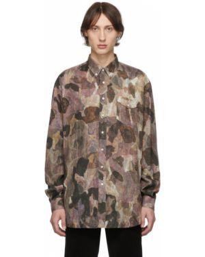 Черная рубашка с воротником с вышивкой оверсайз Schnaydermans