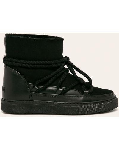 Кожаные теплые черные зимние ботинки круглые Inuikii