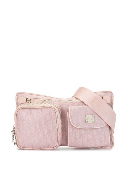 Różowy pasek skórzany z paskiem Christian Dior