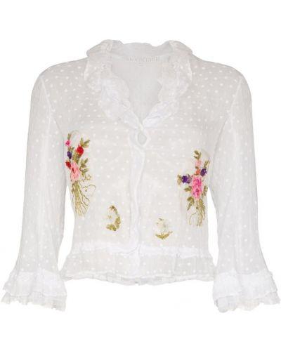 Белый кардиган с вышивкой One Vintage