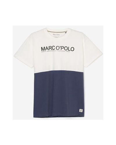 Niebieski t-shirt z printem bawełniany Marc O Polo