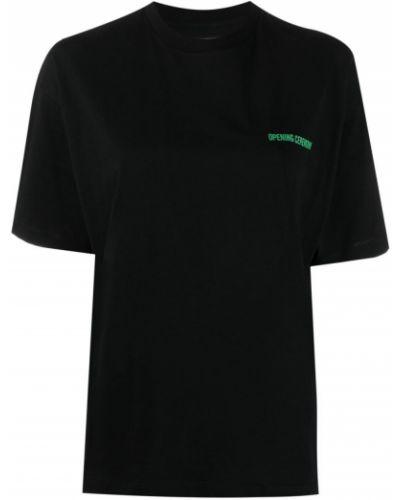 Ватная хлопковая черная футболка Opening Ceremony