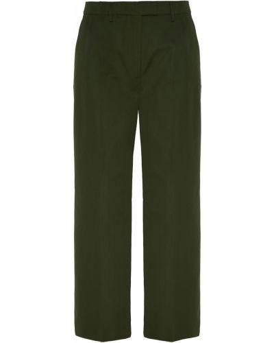 Прямые хлопковые зеленые со стрелками прямые брюки Prada