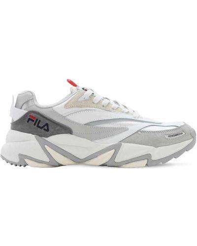 Białe sneakersy skorzane sznurowane Fila Urban