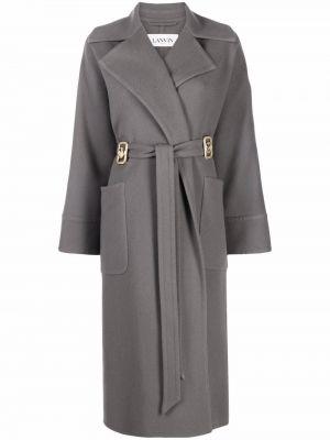 Серое шерстяное пальто Lanvin