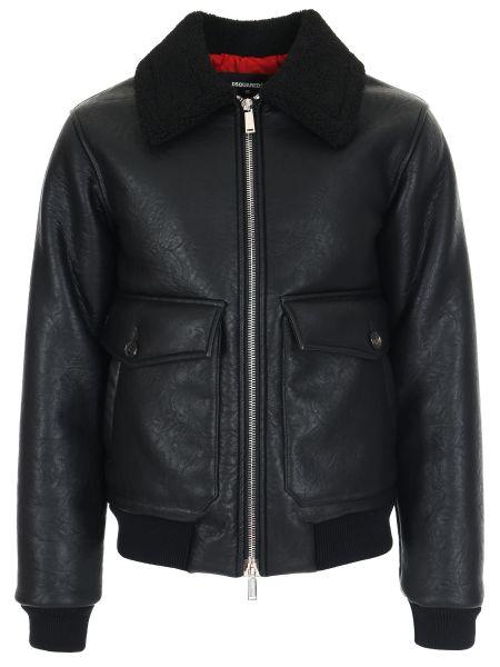 Черная кожаная куртка с поясом на молнии с манжетами Dsquared2