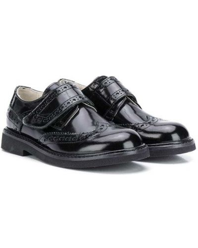 Z paskiem czarny buty brogsy okrągły nos z prawdziwej skóry Montelpare Tradition