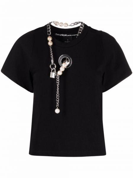 Czarny t-shirt bawełniany krótki rękaw Pinko