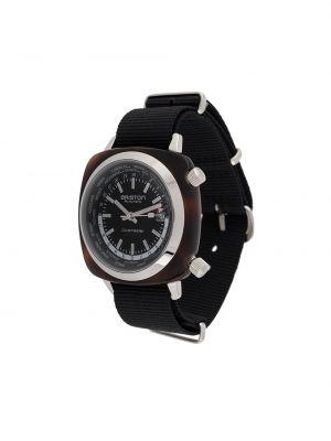 Czarny zegarek mechaniczny srebrny klamry Briston Watches