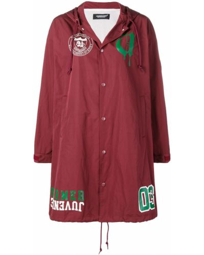 Красное пальто с капюшоном свободного кроя Undercover