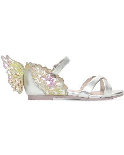 Серебряные кожаные с ремешком сандалии Sophia Webster