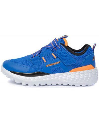 Синие кожаные кроссовки Skechers