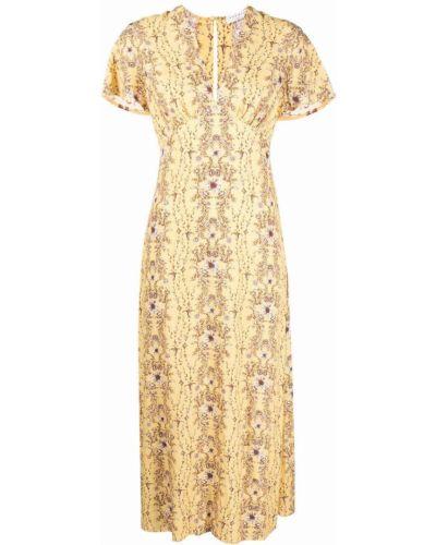 Желтое платье миди с короткими рукавами в цветочный принт Sandro Paris