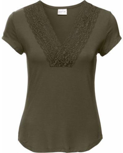 Оливковая блузка с поясом Bonprix