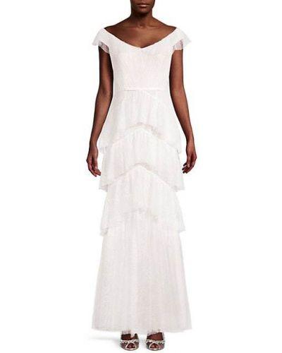Бежевое кружевное вечернее платье с V-образным вырезом Marchesa