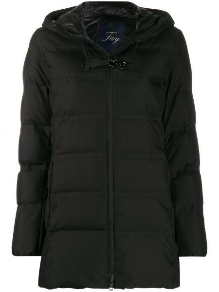 Прямой черный длинное пальто Fay