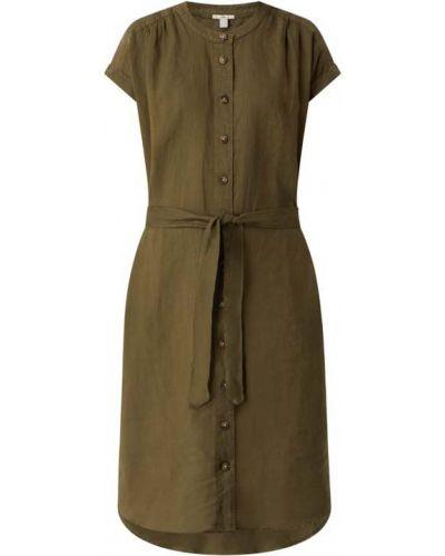 Zielona sukienka mini rozkloszowana z wiązaniami Edc By Esprit