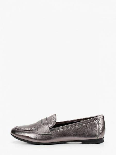 Серебряные кожаные туфли из натуральной кожи Pazolini
