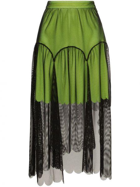 Плиссированная черная юбка миди из фатина в рубчик Paskal