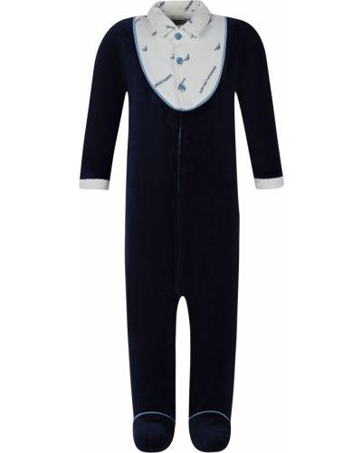 Хлопковый синий комбинезон Armani Junior