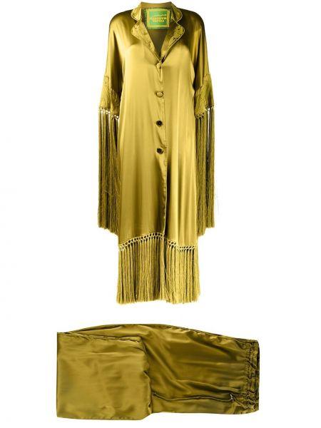 Пальто с запахом с бахромой на пуговицах с вырезом Yuliya Magdych