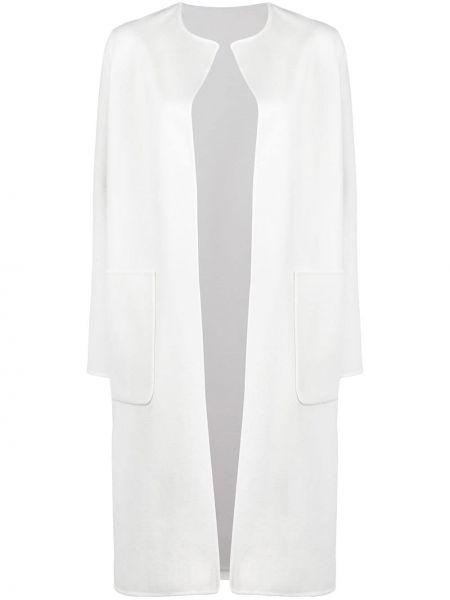 Шерстяное белое пальто с капюшоном Manzoni 24