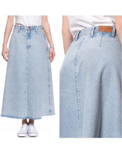 Niebieska spódnica maxi bawełniana Wrangler