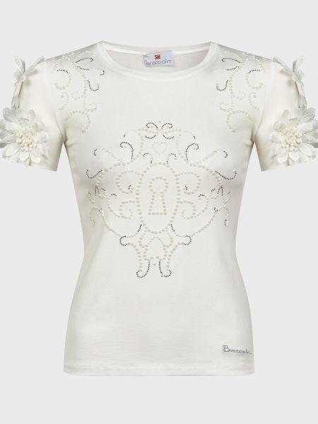 Белая футболка со стразами из вискозы Braccialini