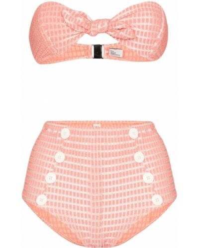 Розовые нейлоновые бикини с высокой посадкой Lisa Marie Fernandez