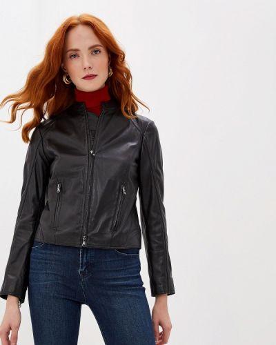 Кожаная куртка осенняя черная Emporio Armani