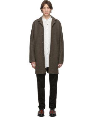 Коричневое шерстяное длинное пальто с воротником на молнии Schnaydermans