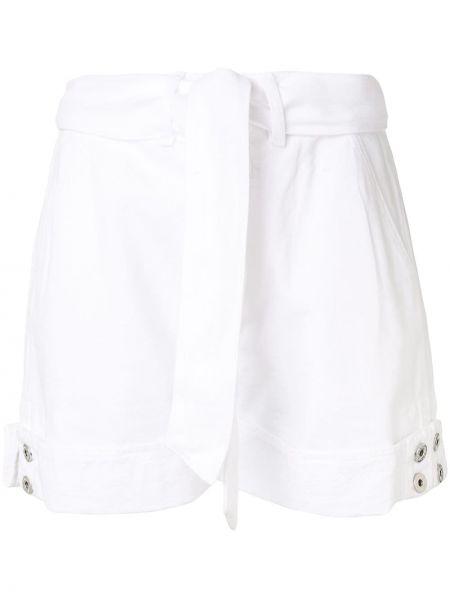Белые джинсовые шорты со стразами с карманами на пуговицах Jonathan Simkhai